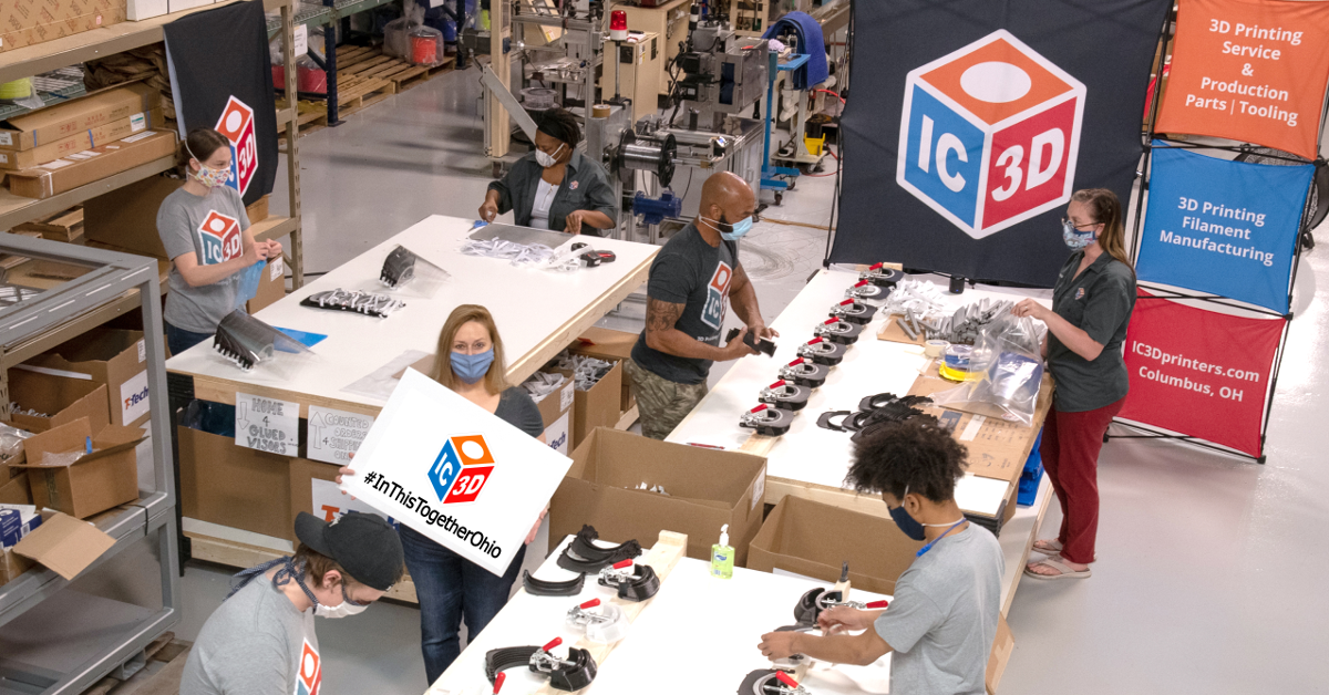 Kimberly Gibson, CMO and co-founder at IC3D stands on the PPE production floor